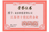 江苏省十佳民营企业荣誉证书